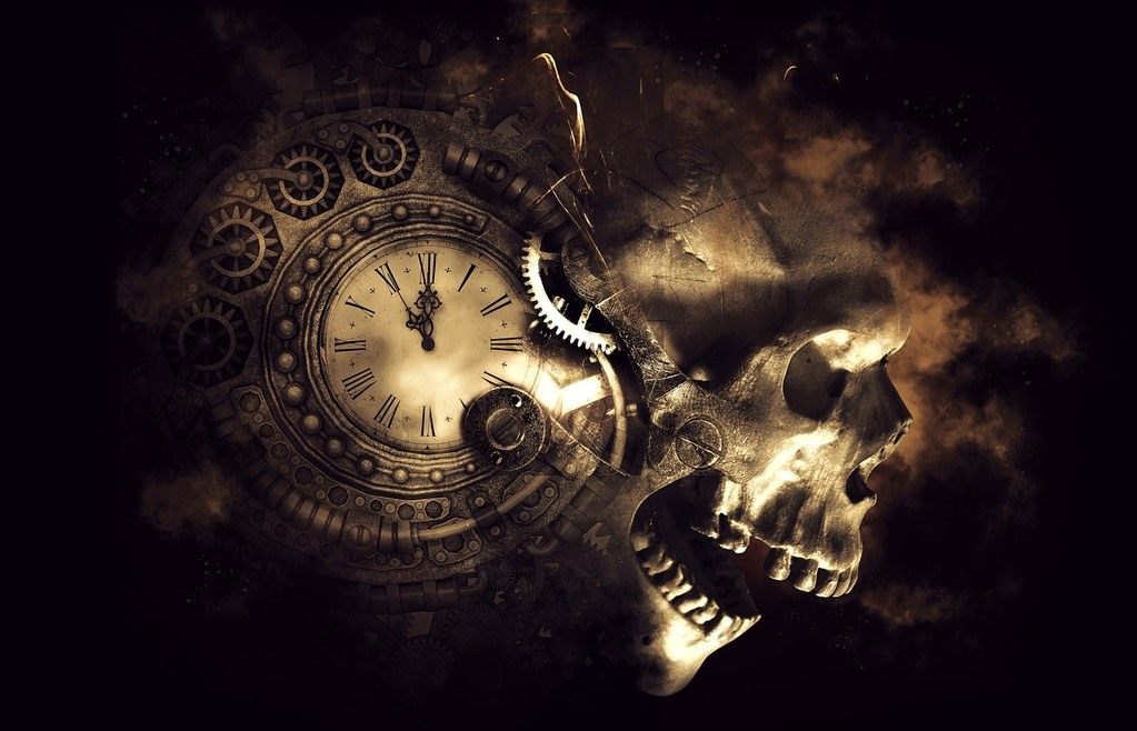 Image of clock and skull - we had run out of time
